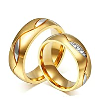 6MM Stainless Steel Cubic Zirconia Gold Wedding Promise Rings for Couple 2Pcs Women Size T 1/2 & Men Size L 1/2