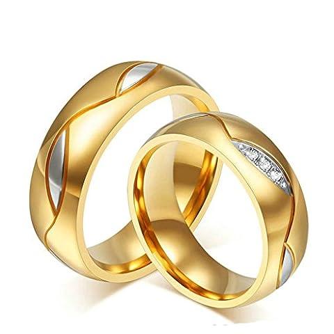 Epinki Bijoux Alliance 6MM Acier Inoxydable Zircone Cubique Or Mariage Engagement Anneaux pour Couple 2Pcs Femme Taille 54 & Homme Taille 69
