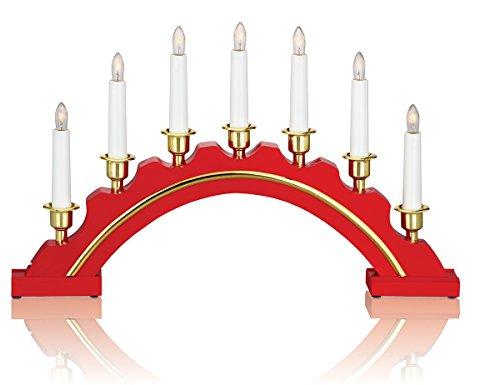 LIGHTS OF SCANDINAVIA - Lichterbogen aus Holz mit 7 elektrischen Kerzen, rot / gold