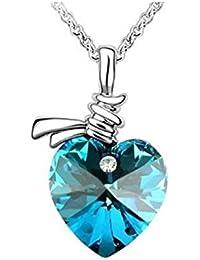 Blauer Kristall Herz Anhänger Halskette mit Swarovski Elements Geschenk gemacht