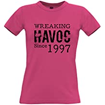 21st Birthday Womens Ladies T-Shirt Wreaking Havoc Since 1997 Novelty Distressed Design Happy Gift Present Idea Year Trouble Mischief Slogan Cool Funny Gift Present
