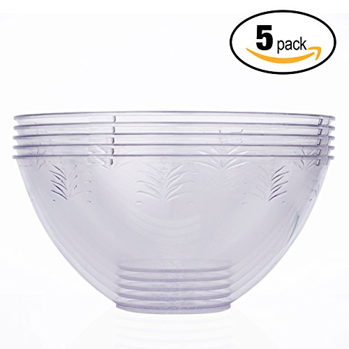 Ensemble de 5 saladiers en plastique jetables géants blancs - volume 3000 ml