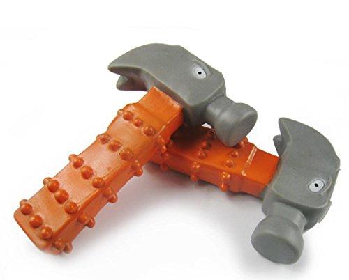 Jeephuer Niedlich Hammer Geformte Hantel Molar Zähne Training Haustier Hund Spielzeug (Orange)