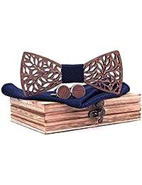 ea0437a39eaa8 SetProducts ⭐ Effet Garanti ⭐ Coffret Noeud Papillon Bois Sculpté Marron  avec Carré de Tissu Bleu Assorti et Boutons…