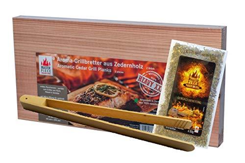 """Masterpiece """"heavy XXL + Grillzange und Gewürzzubereitung"""" - Aroma Grillbretter aus Zedernholz, 15 mm stark, Grillplanke Premium Qualität, Set á 2 Stk, Maße: 195 x 395..."""