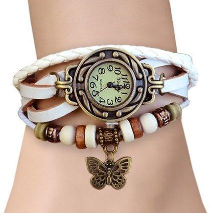 Girlz! leather bracelet with watch For Women (White)