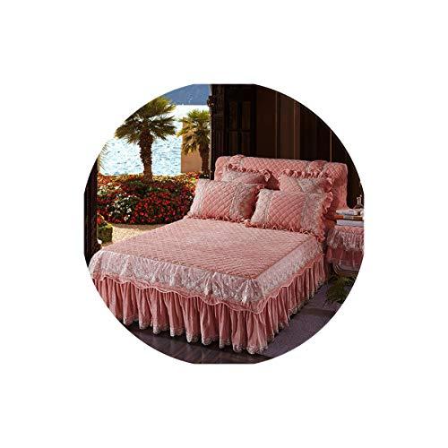 Lovtiful- Lace Bedding Dickes Fleece Warm-Bett Verbreiten bedskirt King/Queen-Size-Bettwäsche-Satz-Rosa-Blau Lila Spitze Bedsheets, 3,200X220Cm 5Pcs