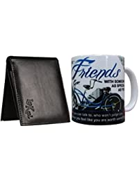 Saugat Traders Gift For Male Friend - Men's Leather Wallet & Friend Quote Coffee Mug