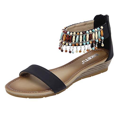 MRULIC Damen Weiche Sohle Flache Sandalen Mode Sommer Roman Reißverschluss Low Heels Wedges Sandalen Strandschuhe mit Perlen Quasten(Schwarz,EU-38/CN-39)