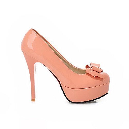 VogueZone009 Damen Stiletto Rein Lackleder Ziehen Auf Rund Zehe Pumps Schuhe Pink