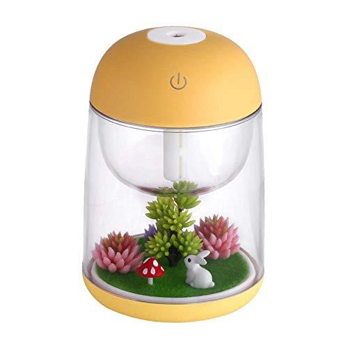 LLAS 180ml Mini Ultraschall Cool Mist Luftbefeuchter Ätherisches Öl Diffusor Room Decor mit Nachtlicht Aroma Diffuser für Office Home Spa Yoga,Yellow