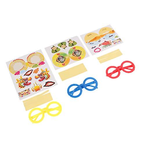 IPOTCH Kunststoff Assistenten Brille Kinder süße Brillengestell ohne Linsen mit Dekor Papier Sticker für Geburtstag Halloween Kostüm Party Supplies - B091