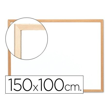 Q-Connect Pizarra Blanca Laminada Marco De Madera 150 x 100 Cm
