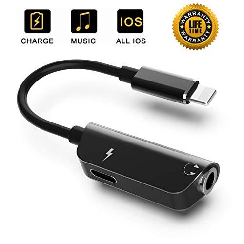 Kopfhörer Adapter für iPhone 8 Adapter 3.5 mm Klinke Dongle Splitter Audio und Lade für iPhone 7 /7 Plus /8/8 Plus/X/XS/XR Konverter AUX Audio Headset Kabel Unterstützung iOS12 oder höher - Schwarz - Kopfhörer-headset-adapter-konverter