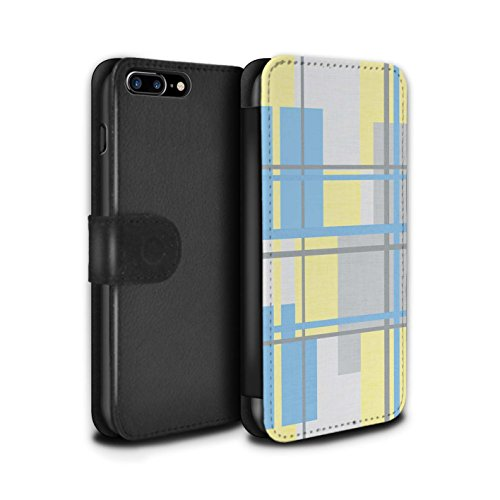 Stuff4 Coque/Etui/Housse Cuir PU Case/Cover pour Apple iPhone 8 Plus / Chaud Plage Rayures Design / Mode Jaune Collection Textile Tissu