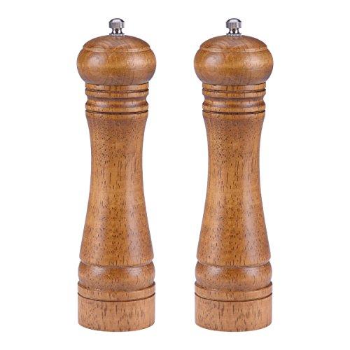 Weiye Pfeffermühle, Salzmühle manuell Holz Spice Grinder-Holz Grinder-Salz und Pfeffer Mills, verstellbares Mahlwerk aus Keramik Pfeffermühle