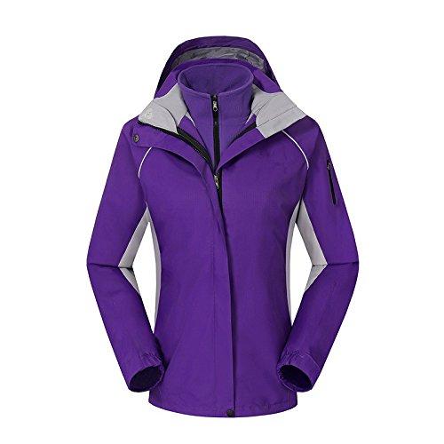 HUA&X Damen Mantel Winter Ski Jacke wasserdicht Winddicht warmen Reißverschluss Outdoor, Lila, L