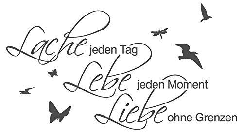 I-love-Wandtattoo , Aufschrift: Lache jeden Tag, lebe jeden Moment, liebe ohne Grenzen [nicht in
