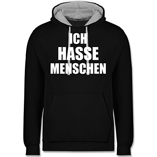 Statement Shirts - Ich hasse Menschen - Kontrast Hoodie Schwarz/Grau Meliert