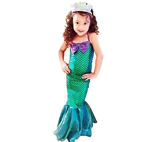 Fischschwanz Kleider, Kleines Meerjungfrauenkleid, Halloween Party Cosplay Kostüm für Mädchen 3-12 Jahre alt (M) (Meerjungfrau Halloween-kostüm Kind)