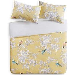 SCM Bettwäsche 200x200cm Vögel & Blumen 100% Baumwolle Renforcé 3-teilig Bettbezug & Kissenbezüge 50x75cm Landhaus Ideal für Schlafzimmer Garden Birds