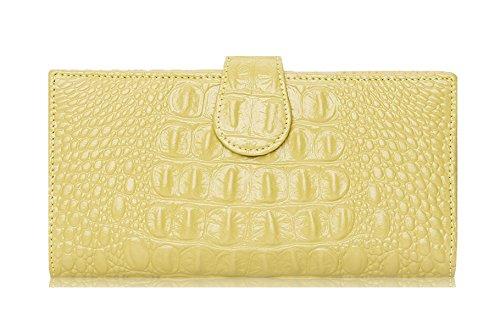 Longzibog Dual verstellbare Schultergurte und Hängeschlaufenband Mode geldbörse damen lang Zitronengelb