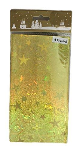 4 Stück Gold Geschenkbeutel Weihnachtskarte Weihnachtspräsent