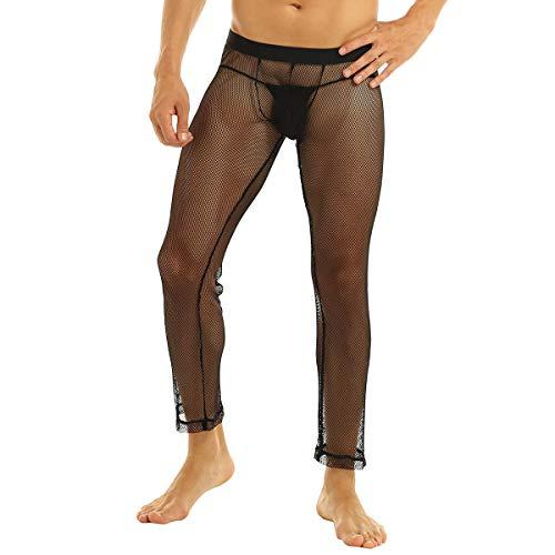 inhzoy Herren Fischnetz Strümpfe Strumpfhosen Transparent Leggings Netzstrumpfhose Männer Erotische Unterwäsche Nylon Pantyhose Clubwear Schwarz XX-Large