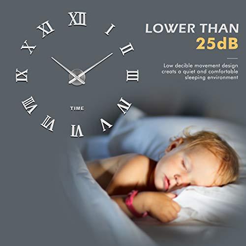 41UFfNsixSL - SOLEDI Reloj de Pared 3D, DIY Reloj de Etiqueta de Pared Decoraciš®n Ideal para la Casa Oficina Hotel Restaurante, llenado Pared Vacšªa 3D Reloj (Plata)