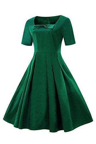 MisShow Damen Elegant 1950er Retro Vintagekleid Einfarbig Cocktailkleid Festlich Kleider Sommerkleid Knielang Grün Gr.S - 3