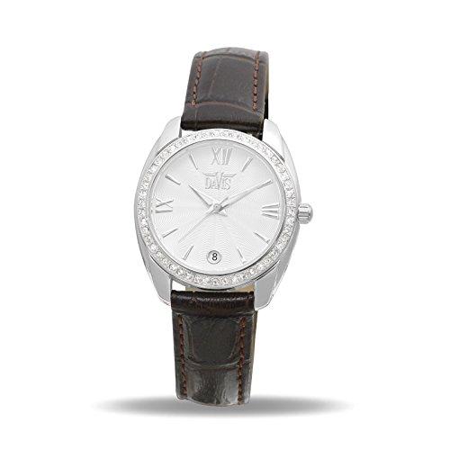 Davis 2021 - Reloj Strass Mujer Cristal Swarovski Esfera Blanco Fecha Bracelet de Piel Marron