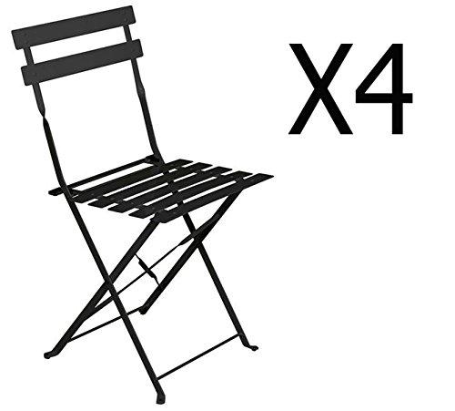 PEGANE Lot de 4 chaises Pliantes en Acier Coloris Noir - Dim: 42 x 47 x 81 cm