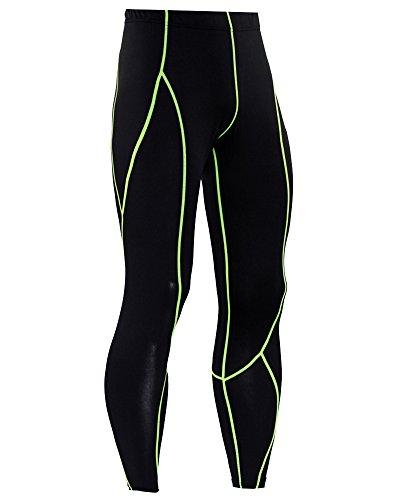 Uomo Fitness Jogging Compressione Asciugatura Veloce Sports Tights Pantaloni Verde