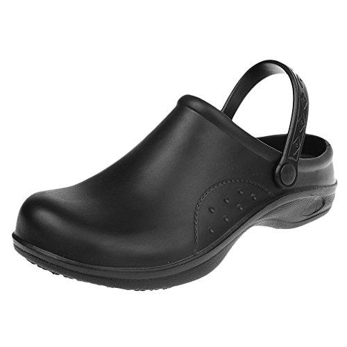 Magideal Zapatos de Enfermería de Cocinero de Mujeres Hombres Plástico Resistente al Agua Reduce Fatiga de Pie 2 Colores - Negro, 39