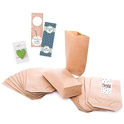1a-Qualität - 100 kleine braune Papier-Beutel Papiertüten Tütchen Tüten (mit Testaufklebern !!!) mit Boden (14 x 22 x 5,6 cm) Kraftpapier für für Geschenktüten, Adventskalender, Geschenke verpacken