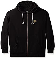 NHL Anaheim Ducks Women's Full Zip Fleece Logo Distressed Screen Print Hoodie, 2X, Black/White