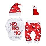 b72d35482 QUICKLYLY 3pcs Navidad Conjuntos de Ropa para Bebé Niña Niño Carta  Impresión Mameluco Tops + Ciervos