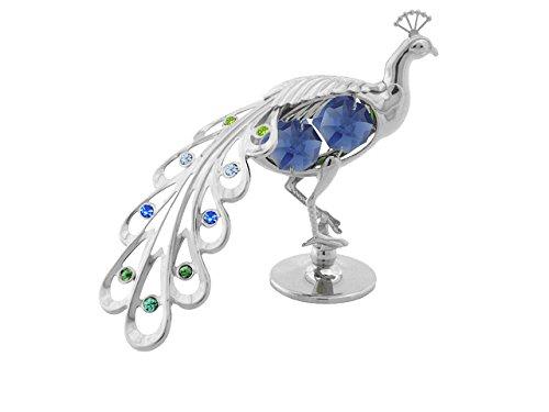 Crystocraft, pavone in miniatura–colore: argento– perle in cristallo swarovski–idea regalo e oggetto di decorazione