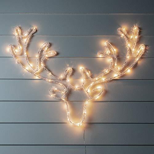 Lights4fun Tête de Cerf de Noël Lumineuse en Acrylique