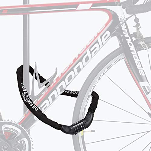 Fahrradschloss, Mit Zahlencode, Fahrrad Schloss, Camden Gear Fahrradschloß Kettenschloss für Fahrrad und Motorrad Mit Zahlenkombination. Zahlen Zahlenschloss Schwarz - 7