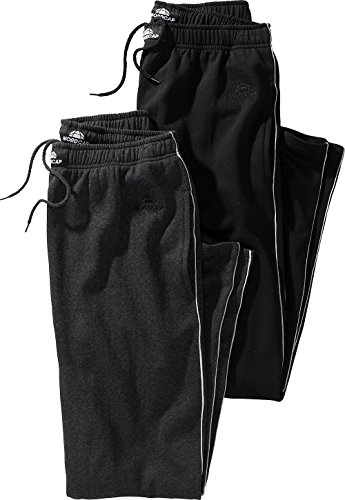 Nordcap Herren Jogginghosen-Set in Grau & Schwarz, kuschelige Sporthose im Doppelpack, bequeme Freizeit-Hosen (Größe: S - XXXXL) (Hose Loungewear Lounge)