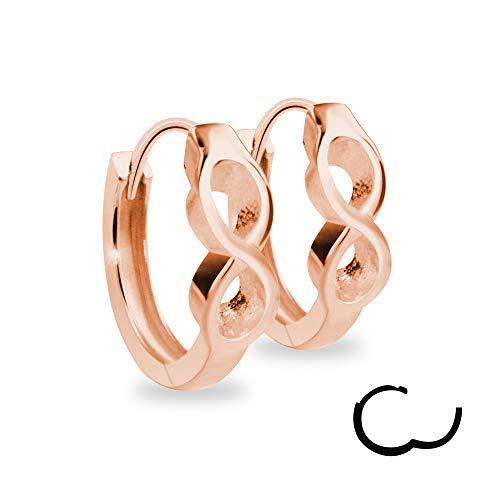 Treuheld®   925 Silber Infinity Rosegold CREOLEN mit Unendlichkeit Symbol - Sterling - Damen & Herren Ohrringe - Rose-goldene Ohrstecker mit Klappverschluss - 3,5mm breit - Ohrschmuck zum Klappen