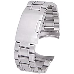 TOOGOO(R) Solid Stainless Steel Links Watch Band Strap Curved End Deployment Buckle 20mm--Silver