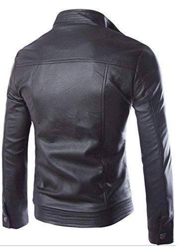 Legou Homme Veste à cuir Simple Style motard Noir