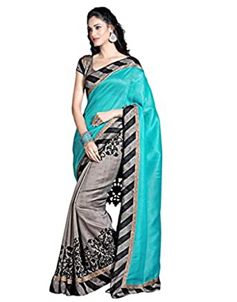 Vinayak Textiles Women's Cotton Saree (VTSFS1594-15_Sea Blue, Grey)