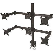 """Soporte de mesa para monitor en negro para seis monitores extensible de 10 cm a 105,8 cm inclinable 180° girable 180° para Asus 20"""" VS208NR"""