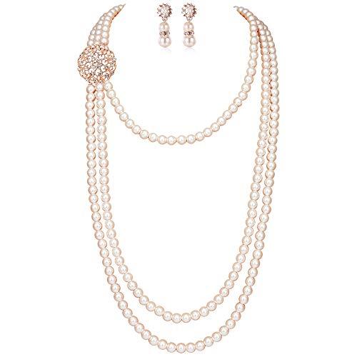 ArtiDeco 1920s Halskette Damen Imitation Perlen Kette Retro 20er Jahre Gatsby Damen Halskette mit Kristall Blume Brosche und Perlen Ohrringe (Stil 3 - Rose Gold)