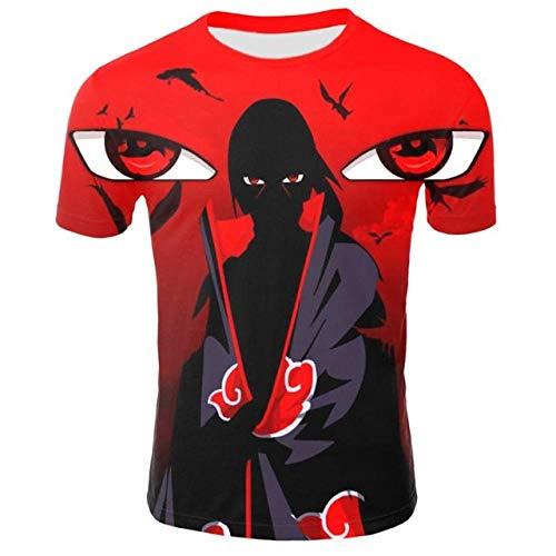 TSHIMEN t-Shirt männer 3XL Naruto Männer Anime Kostüm Stadt Charakter T-Shirt Japanischen Stil 3D Print T-Shirt Lustige Cool Street Kostüm rot - Iron Mann Kostüm Party Stadt