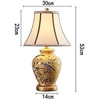 Preisvergleich für ZYCkeji Zart Retro Keramik Tischlampe, Nachttischlampe Schlafzimmer Wohnzimmer dekorative Lichter Ornamente Nachtlicht...