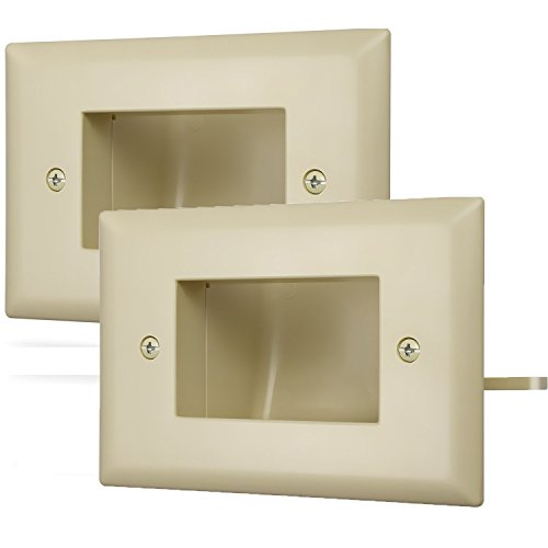 Lautsprecher-installation (Fosmon 1-Gang (2 Pack) Recessed Low Voltage Kabel Plate In-Wall Installation für Lautsprecher Speaker Wires, Coaxial Cables, HDMI Cables, or Network/Phone Cables (Elfenbein))